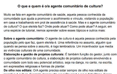 Clarice Ladislau Lacerda – O que é Agente Comunitário de Cultura?