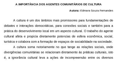 Edmara Souza Fernandes – A IMPORTÂNCIA DOS AGENTES COMUNITÁRIOS DE CULTURA