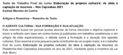 Esdras Mendes da Cunha – O Agente Cultural: sua formação e sua atuação