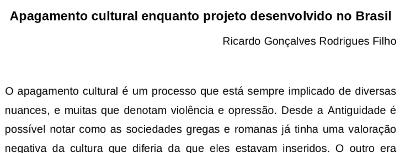 Ricardo Gonçalves Rodrigues Filho – Apagamento cultural enquanto projeto desenvolvido no Brasil
