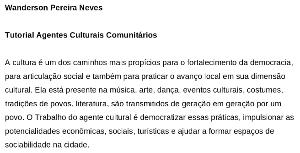 Wanderson Pereira Neves – Agentes Culturais Comunitários
