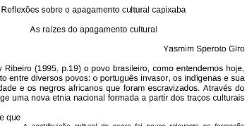 Yasmin Speroto Giro – As raízes do apagamento cultural